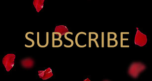 The word 'subscribe' in gold on a black background with red rose petals