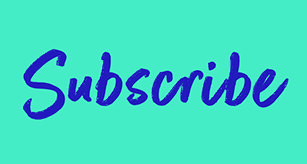 The word 'subscribe' in bold blue script font on a bright green background