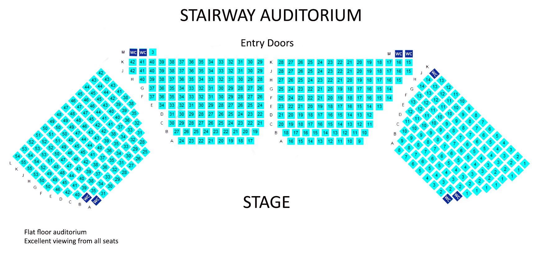 Colour coded seating map for auditorium