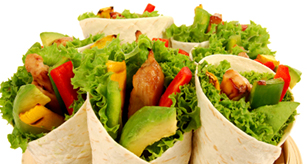 Healthy lunch wraps with colourful fillings