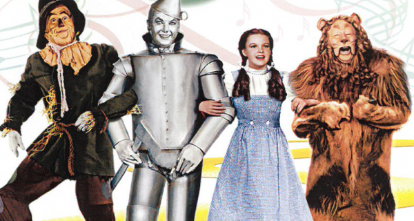 Illustration of Scarecrow, Tin Man, Dorothy and Lion from The Wizard of Oz