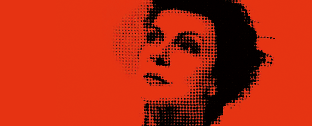 A picture of Judy Garland's face against a red background, with the show title in text