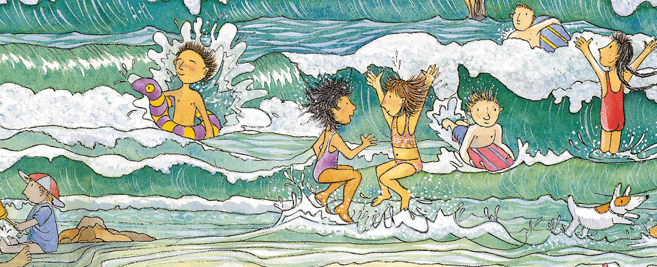 Front cover of the book Magic Beach - illustration of children playing in the sand and waves